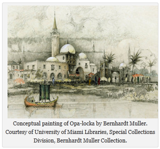 Conceptual painting of Opa-locka by Bernhardt Muller. Courtesy of University of Miami Libraries, Special Collections Division, Bernhardt Muller Collection.