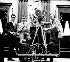 Left to right: George Thurston, Keith Leslie and Bill Tucker, WTVJ news crew. Photo courtesy of www.floridamemory.com