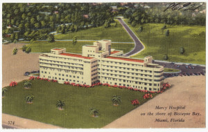 Mercy Hospital on the shore of Biscayne Bay, Miami, Florida Date: 1930–1945